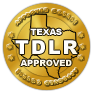 Approved by Texas TDLR, PTDE #0113